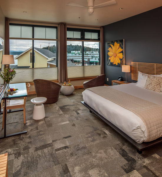 King sized comfort Friday Harbor Hotels San Juan Island Lodging