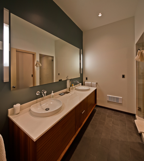 Spa inn-spired steam shower, heated floors and dual sink vanities